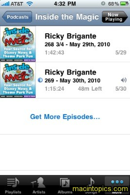 screenshot of iPhone showing list of podcasts