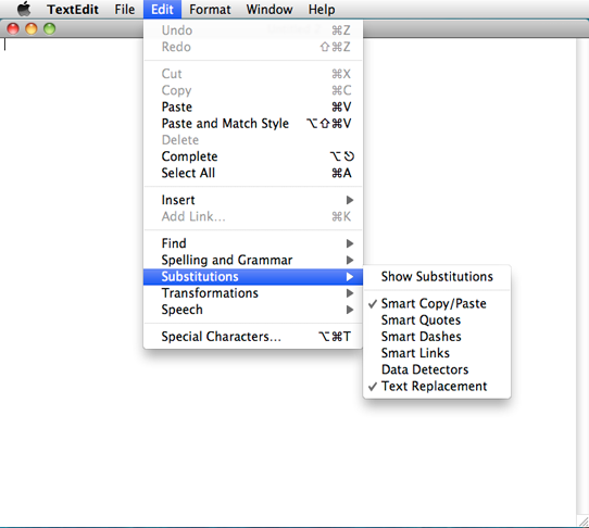 screen shot showing the edit menu in the text edit app and where text substitution can be enabled