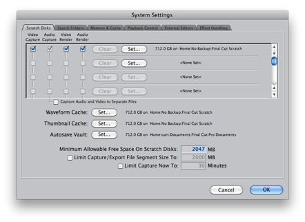 example of Final Cut Pro Scratch file preferences