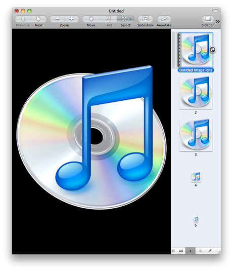 Preview window showing the iTunes application icons