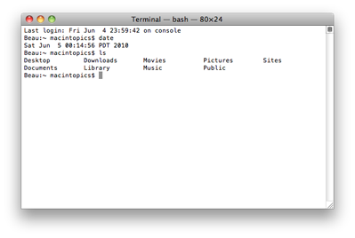 screenshot of Terminal application showing output of some basic UNIX commands