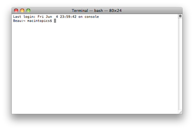 screenshot of basic Terminal app window showing the command line prompt