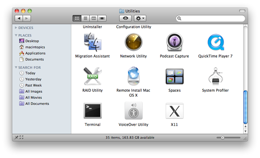 screenshot of Mac OS X Finder window showing the contents of the Utilities folder