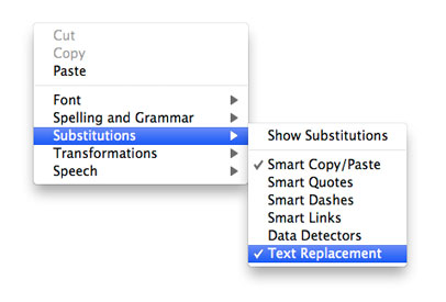 screen shot of context menu showing where text substitutions can be enabled
