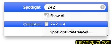 shows calculating 2+2 with the spotlight interface