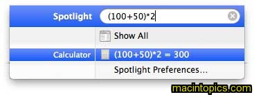 shows the evaluation of (100+50)*2 using the spotlight calculator