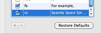 screen shot showing newly added substitutions to the text substitution pane in the system preferences