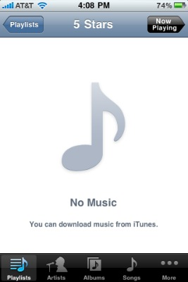 screenshot of iPhone display showing the No Music error message for a playlist