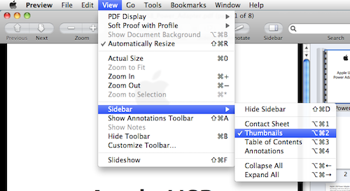 screenshot showing how to show the sidebar in Preview on Mac OS X