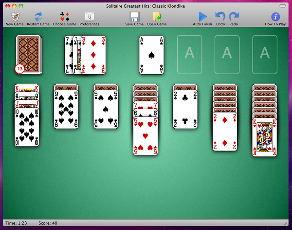 screen shot of solitaire game for the Mac