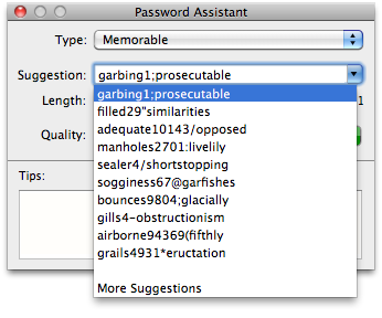 password assistant window showing strong generated passwords