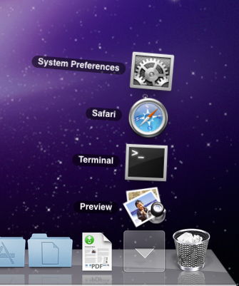 Mac OS X Dock stack showing recently used applications
