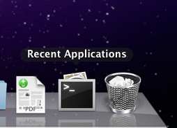 the recent items dock stack in Mac OS X