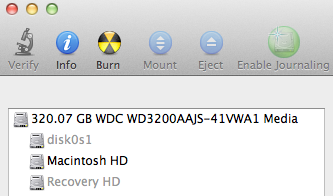 Mac OS X Disk Utility app showing hidden partitions on boot drive