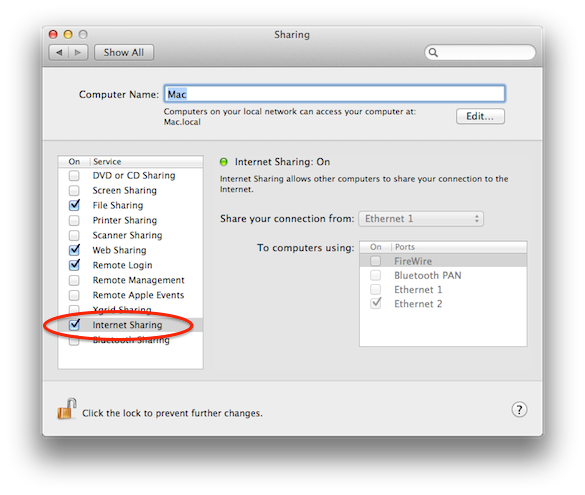 Mac OS X System Preferences Sharing Pane showing Internet Sharing option