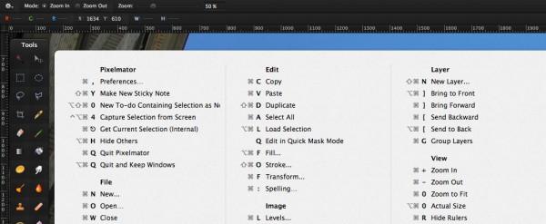 example of CheatSheet keyboard shortcut summary window
