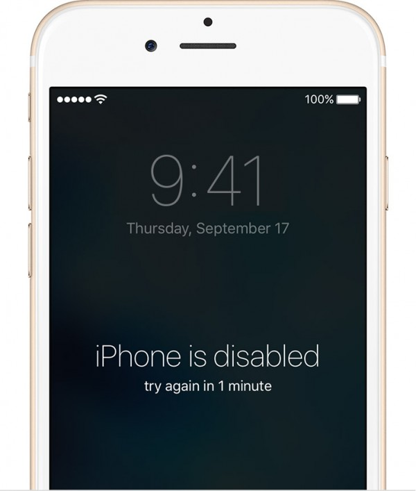 iPhone screen showing passcode delay lockout after failed attempts